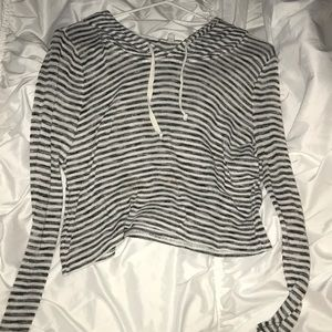 slightly cropped stripped hoodie